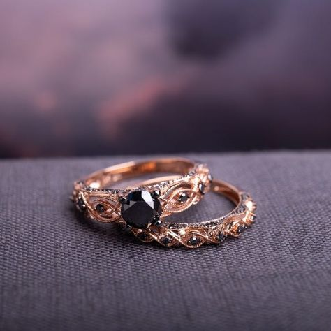 Shop for Miadora Rose Gold with Black Rhodium 1 TDW Black Diamond Infinity Bridal Ring Set. Get free delivery On EVERYTHING* Overstock - Your Online Jewelry Destination! Black Diamond Wedding Rings, Black Wedding Rings, Wedding Rings Vintage, Rose Gold Engagement Ring, Black Rings, Vintage Rose Gold, Bridal Ring Sets, Bridal Rings, Wedding