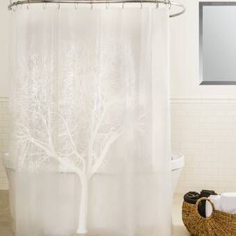 Tree Silhouette Polyester Single Shower Curtain Tree Shower