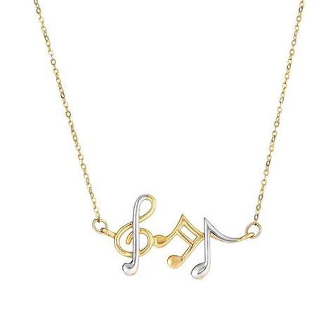 14k Yellow And White Gold Musical Notes Cable Chain Necklace, 17""