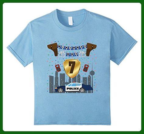 Kids 7th Seventh 7 Seven Years Birthday Boy Police Theme T Shirt 6 Baby Blue