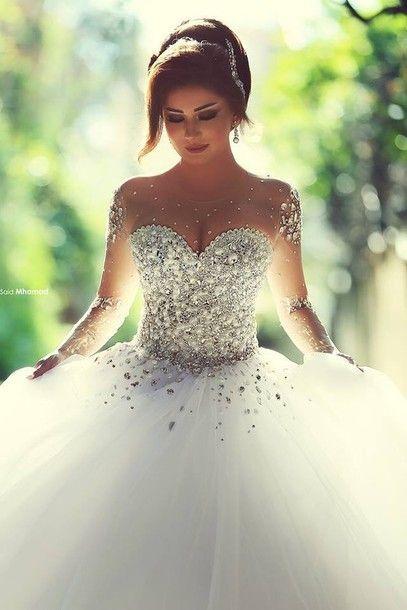 Vestidos De Noiva Casamento Sheer Long Sleeve Princess Ball Gown Wedding Dresses 2015 Tulle Crystal Pearls Wedding Gowns