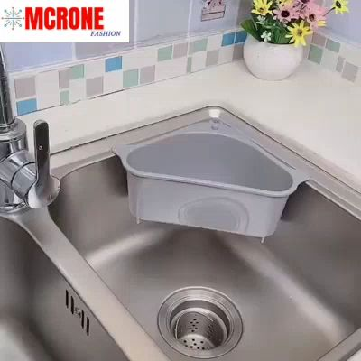 Free up space around your kitchen countertop and sink area with the help of this Triangular Sink Drain Shelf.  With compact triangular structure, this shelf fits neatly most sinks and any corner. The extra space can be fully used for various purposes - As a cleaning tool shelf to hold dish soaps, sponges, scrubbers and so on. Or as a fruit basket, it simply stores fruits and vegetables within easy reach. You can even temporarilycollects fruit peels for easier disposalwhen peeling fruits.
