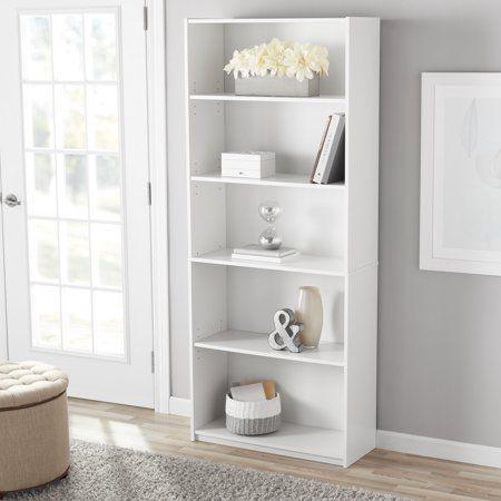 Mainstays 71 5 Shelf Standard Bookcase White Walmart Com