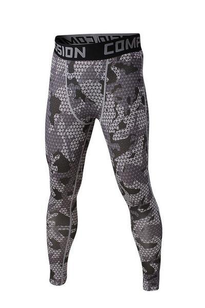 Men Compression Pants Base Layer Leggings Fitness Running Black Sport Trousers