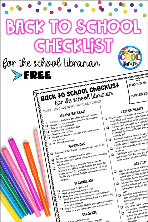 Back to school checklist for school librarians - Download this free and editable school library checklist to help you get ready for a new school year. #backtoschool #schoolyear #school #teaching #librarian #library #schoollibrarian #libraryresources #librarychecklist