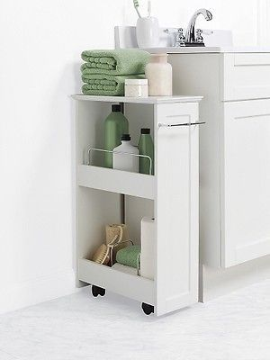 White Slim Rolling Storage Cart Bath Laundry Space Saver Small Shelves Rack Bathroom Cabinets Designs Bathroom Storage Slim Bathroom Storage