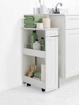 Bathroom Storage Shelf Rolling Cart Slim Space Saver Caddy White
