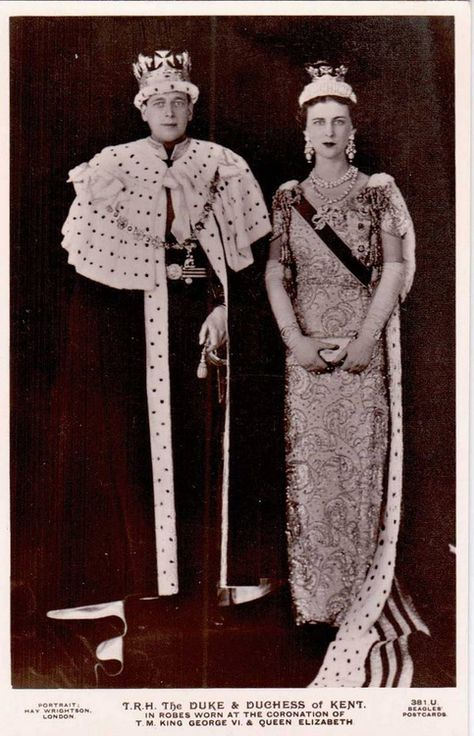 The Duke and Duchess of Kent at the Coronation of King George VI and Queen Elizabeth, May 12th, 1937.