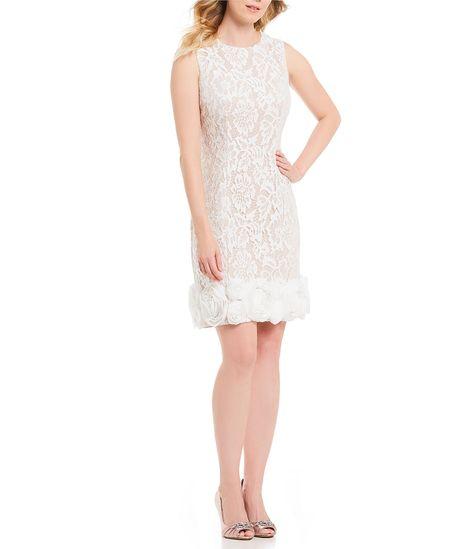 cf5713f6d6 Emma Street Rosette Trim Lace Dress  Dillards