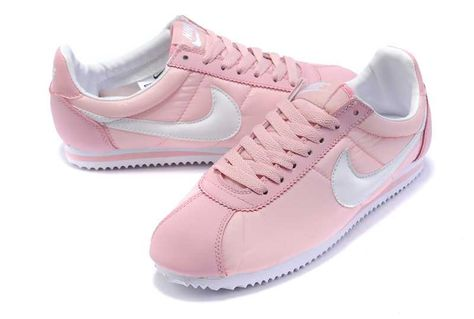 new product 51f47 ad06d Chaussures Sneakers Femme Nike Cortez Nylon Rose Blanc