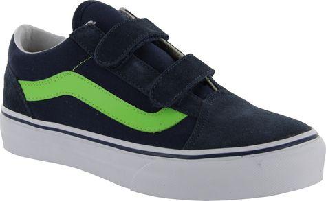 new style c3df7 51223 Vans Old Skool V Kids Skate Shoes - Dress Blues Flash Green.