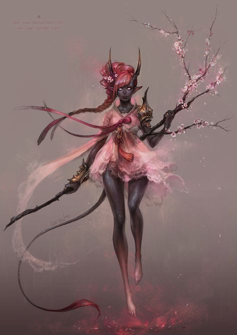 maehwa by len-yan female dark elf drow tiefling dryad druid sorceress witch staff plum blossom armor clothes clothing fashion player character npc | Create your own roleplaying game material w/ RPG Bard: www.rpgbard.com | Writing inspiration for Dungeons and Dragons DND D&D Pathfinder PFRPG Warhammer 40k Star Wars Shadowrun Call of Cthulhu Lord of the Rings LoTR + d20 fantasy science fiction scifi horror design | Not Trusty Sword art: click artwork for source