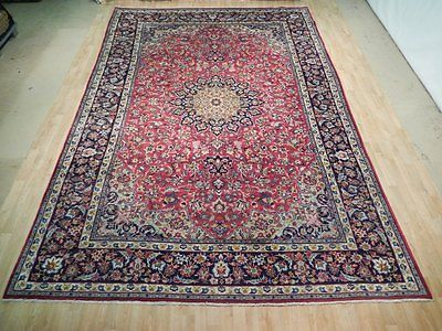red-navy blue isfahan exclusive hand woven 10x15 ft city rug