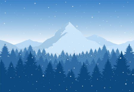 Vector Illustration Winter Mountains Landscape With Pine Forest On Foreground Affiliate Mountain Illustration Landscape Illustration Mountain Landscape