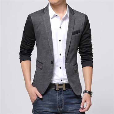 kingf Mens Blazer Jacket Casual Slim Fit One Button Suit Coat Linen Blazer Tops
