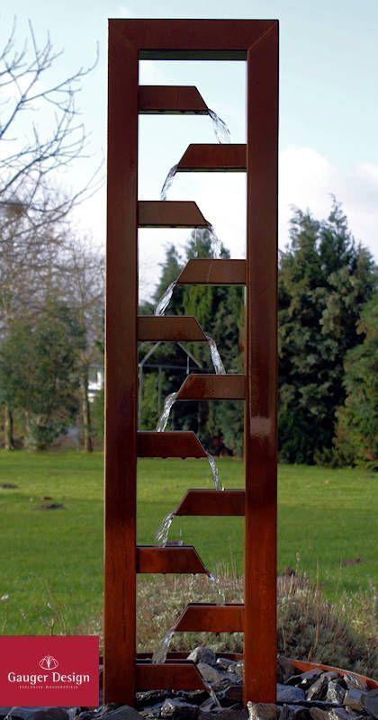 Kaskadenbrunnen Aus Cortenstahl Fur Den Garten Brunnen Garten Gartenbrunnen Vintage Gartendekoration