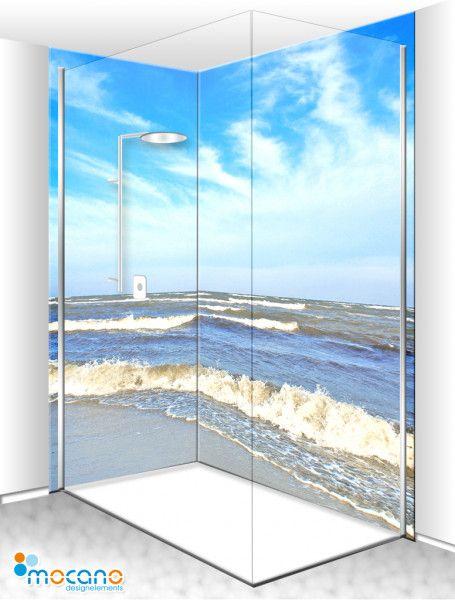 Meerblick Duschruckwand Als Duschwand Im Badezimmer Duschruckwand Spiegelfliesen Duschwand