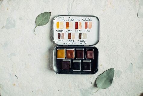 Handmade Watercolor Paint The Colonial Palette 7 Half Pans