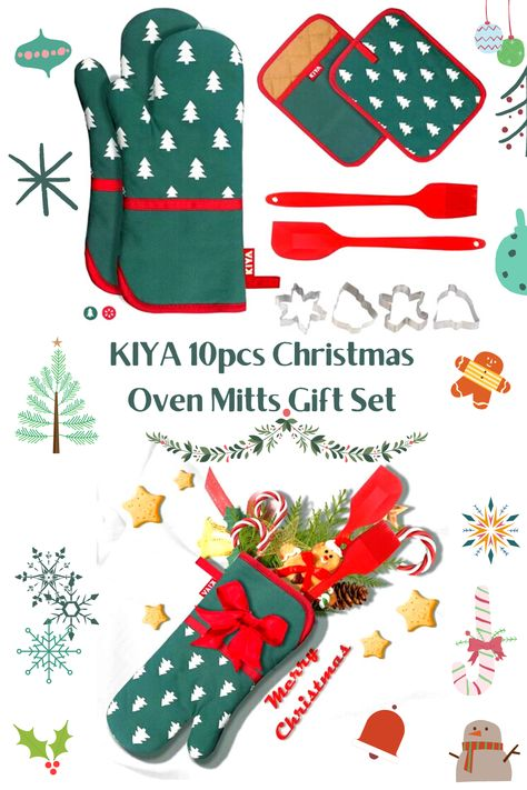 KIYA 10 pcs Oven Mitts Gift Set is great Christmas gift for mom, grandma, and baking lovers. #christmasgift #xmasgift #christmascookies #christmasgiftset #xmasgiftset #christmasgiftmom #bakingloversgift #christmas2020 #christmaskitchendecor