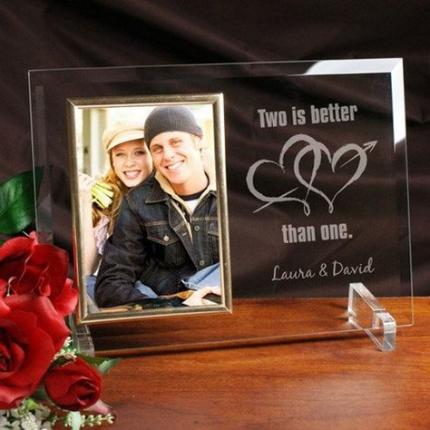 Personalised Engraved Glass Photo Frame Engagement Wedding Anniversary Gift