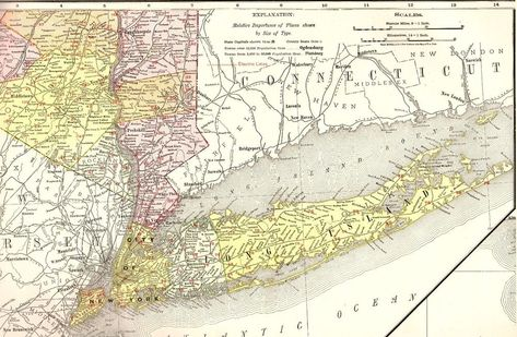 1907 Antique MAP of NEW YORK State Map Original RARE Poster Print