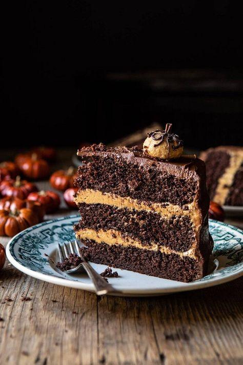 Pumpkin Patch Chocolate Peanut Butter Cake   halfbakedharvest.com #chocolatepeanutbutter #chocolatecake #peanutbutter #halloween