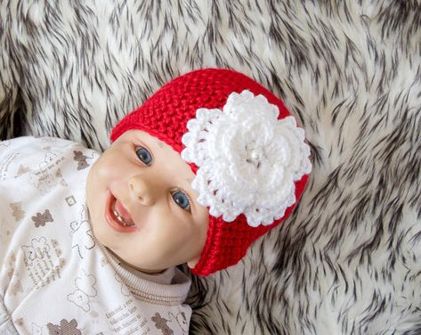2fb7a73dd Baby girl Flower hat - Red and white hat - Crochet hat - Newborn ...