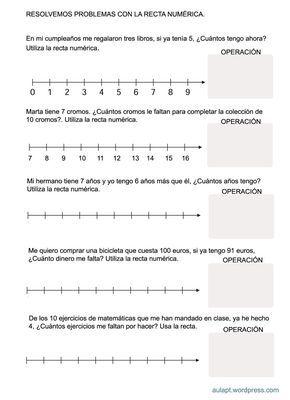 Problemas Con Recta Numerica Mas Recta Numerica Fichas De Matematicas Resolucion De Problemas