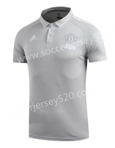 2017 18 Manchester United Light Gray Thailand Polo Shirt Polo Shirt Mens Tshirts Mens Tops
