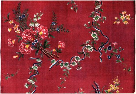 Chinese silk with painted pattern, imported by the Swedish East India Company in the 1700s. Nordic Museum. Kinesiskt siden med målat mönster, 1700-talet..jpg