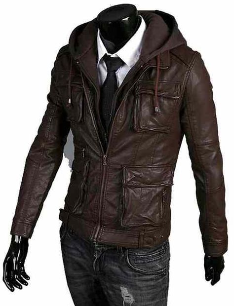 Four front cargo pockets Fabric hooded jacket Front zip closure Shell real cowhide leather Interior fully lining color.