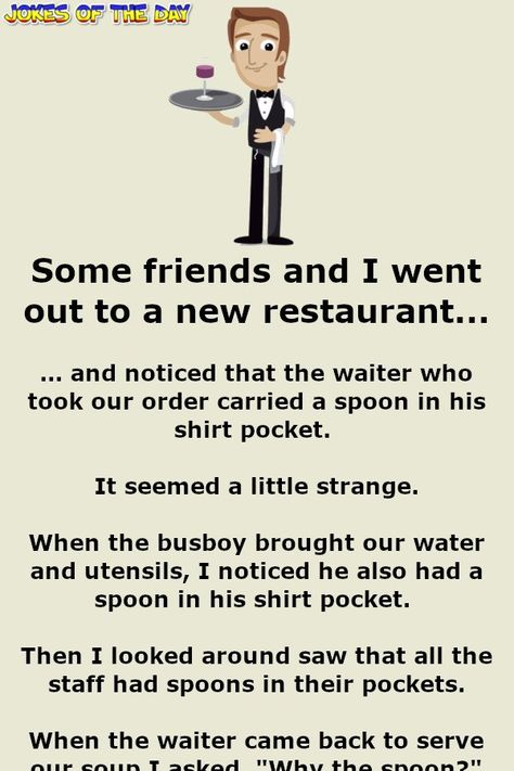 The waiter had a piece of string dangling from his fly