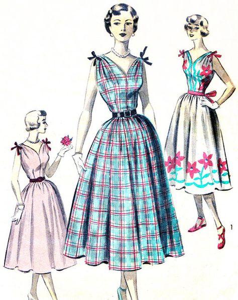 1950s Dress Pattern Advance 5627 Full Skirt by paneenjerez on Etsy, $30.00