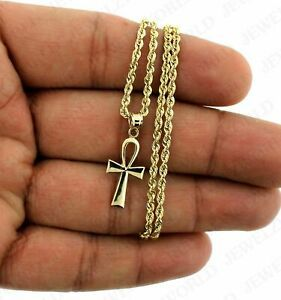 10k Yellow Gold Egyptian Ankh Cross Charm Pendant With 2mm Rope Chain Necklace In 2020 Gold Cross Charm Gold Cross Pendant Diamond Cross Pendants