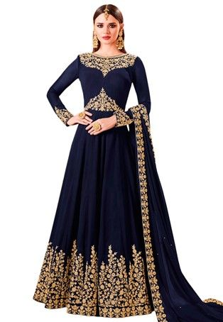 Navy Blue Georgette Floor Length Anarkali Suit Anarkali Suits Floor Length Anarkali Kids Designer Dresses