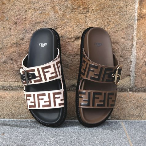 Shop the Fendi Logo Buckle Sandal in Camelia and Tobacco at Parlour X Fashion Sandals, Sneakers Fashion, Derby, Buckle Outfits, Buckle Jeans, Expensive Shoes, Designer Shoes, Designer Clothing, Fendi Bags