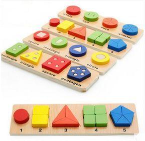 أطفال خشبية ألعاب تعليمية مونتيسوري الرياضيات الهندسية الأشكال هندسة لغز لعبة تعلم الرياضيات المواد الصلبة Math Toys Educational Toys For Kids Montessori Toys