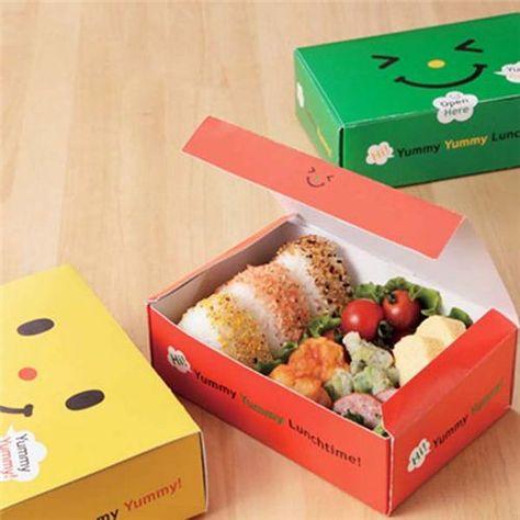 Smiley face disposable paper bento box sandwich box