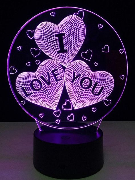 7 Color Change 3D Illusion Love Heart Night Light For Valentine Day -