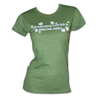 Original Everyone Loves A Drunk Girl Babydoll Mint Green T-Shirt. Features white text with hearts and little beer mugs. 100% cotton.'