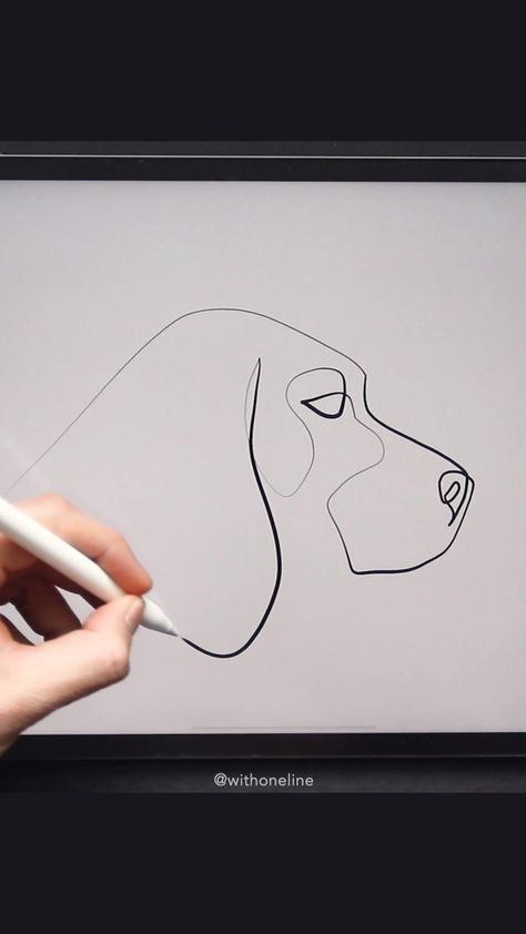 Continuous line drawing of a Beagle dog by @withoneline