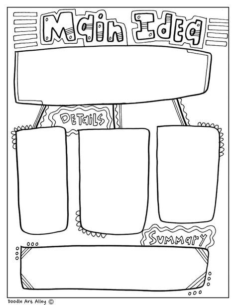 AT Classroom Doodles from Doodle Art Alle… Main Idea Coloring Graphic Organizer. AT Classroom Doodles from Doodle Art Alley! Reading Strategies, Reading Activities, Teaching Reading, Reading Comprehension, Main Idea Activities, Kids Graphic Design, Graphic Design Quotes, Graphic Art, Graphic Illustration