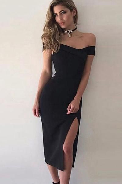 9a221f69b5136 Black Off-the-shoulder Slit Tight-fitting Bandage Prom Dress in 2019 ...