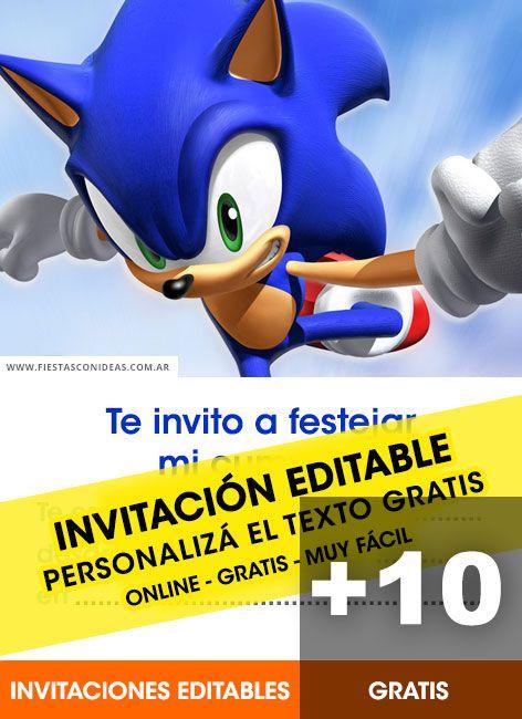 10 Tarjetas De Cumpleaños De Sonic Gratis Para Editar E