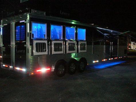 2014 Lakota BIG HORN DS 4 Horse Slant Load Gooseneck Horse Trailer With Living Quarters The led lights are on point