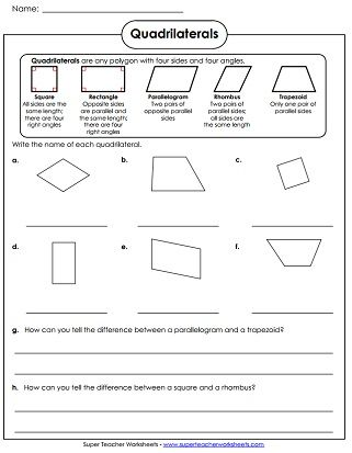 Quadrilaterals Worksheet | Geometry worksheets, Free math ...