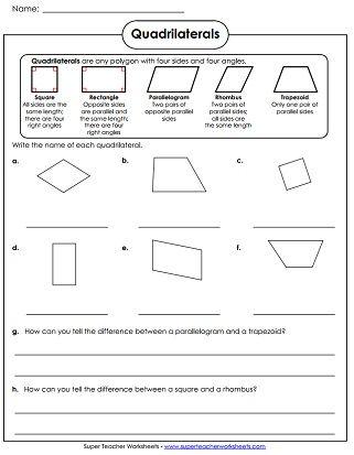 Quadrilaterals Worksheet Quadrilaterals Worksheet Geometry Worksheets 5 Grade Math Worksheets Quadrilaterals 3rd grade worksheets