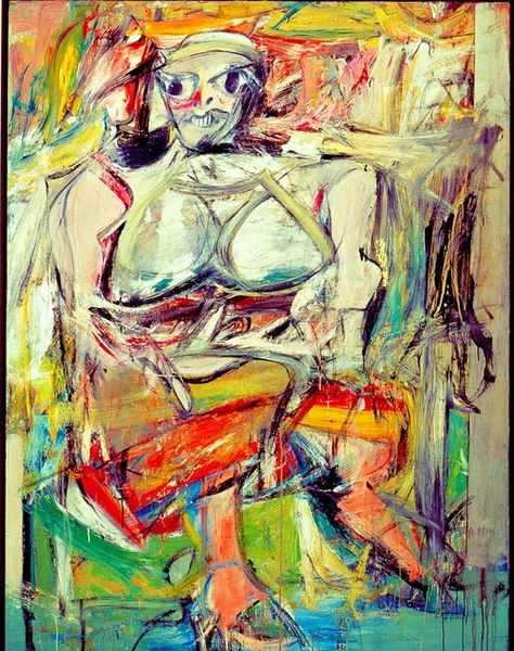"Woman I by Willem de Kooning ""William de Kooning is a true master because of he is able to encompass both attraction and repulsion."""
