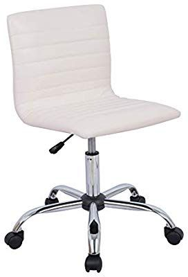 Amazon Com Amazonbasics Modern Adjustable Low Back Armless Ribbed Task Chair White Kitchen Dining Task Chair Vanity Chair Old Chair