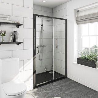 Mode Premium Black 6mm Sliding Shower Door With Left Handed Black Tray 1200 X 800 Shower Doors Black Shower Doors Sliding Shower Door